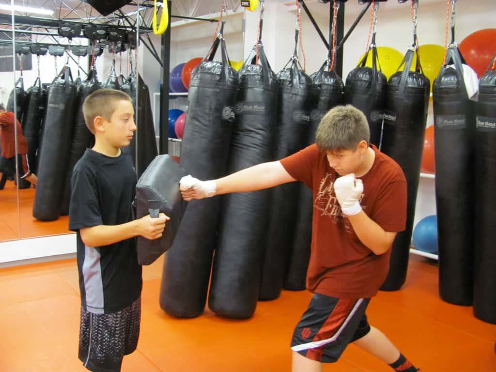 kids practicing krav maga
